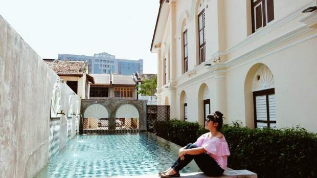 The pool at Jawi Peranakan Mansion